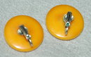 Butterscotch Bakelite Disc Clip On Earrings