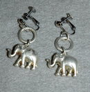 Silver 3d elephant charm screw back dangle earrings