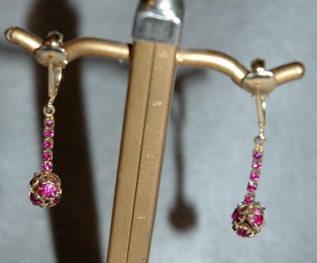 Hot Pink or Fuchsia Rhinetone Ball Dangle Earrings  *PRICE REDUCED !**
