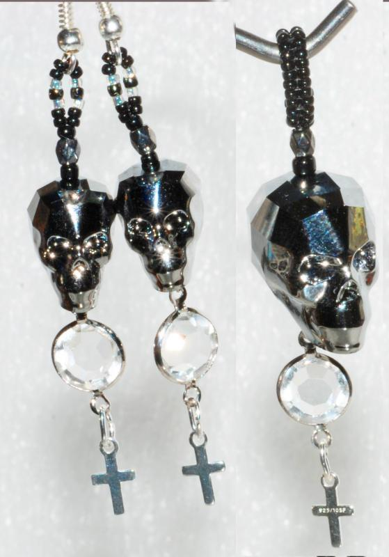 Swarovski Crystal Skull Bead Silver Night Earrings & Pendant with 925 cross crystals Halloween Day of the Dead Gothic original design