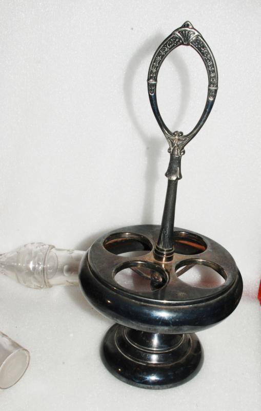 HARTFORD SILVER PLATE CASTER CRUET STAND & 4 CUT GLASS BOTTLES
