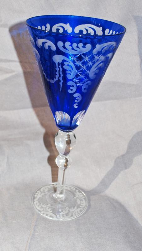 Cobalt Blue Cut to Clear  Cased Tall Stemware Glass for  Toasting  Wine or Water Goblet