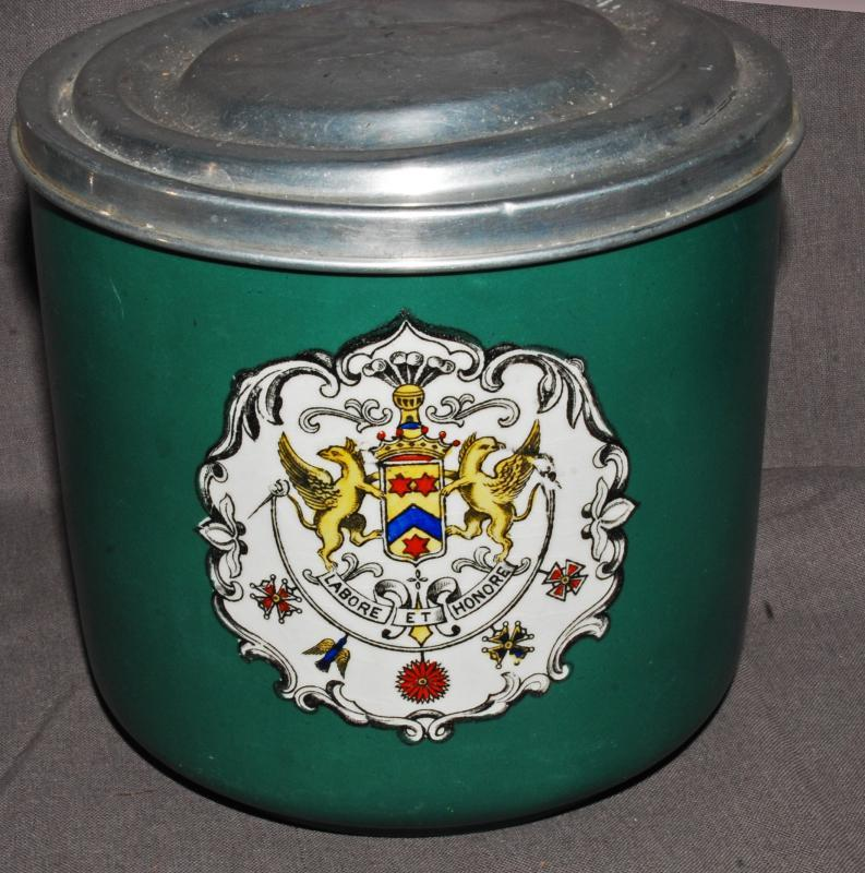 ANTIQUE 19C COAT OF ARMS IMPERIAL CUBE CUT CIGAR TOBACCO JAR   Green PORCELAIN