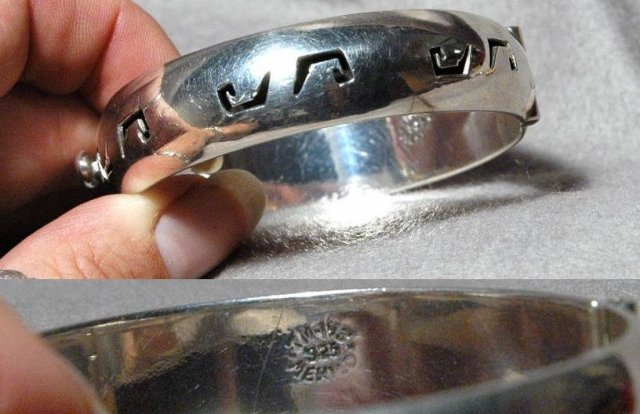 Taxco Mexico Sterling Hinged Bangle Overlay
