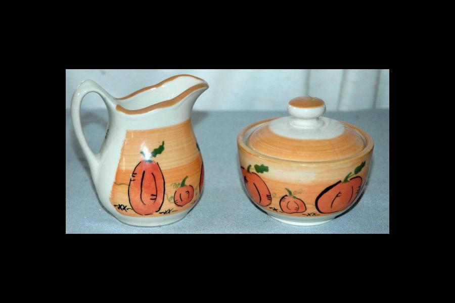 Fall Pumpkin Motif Creamer and Sugar Bowl