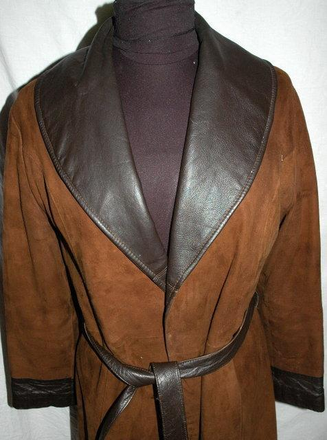 Brown Cabretta Suede Leather Belted Coat Leathers by Jeffery