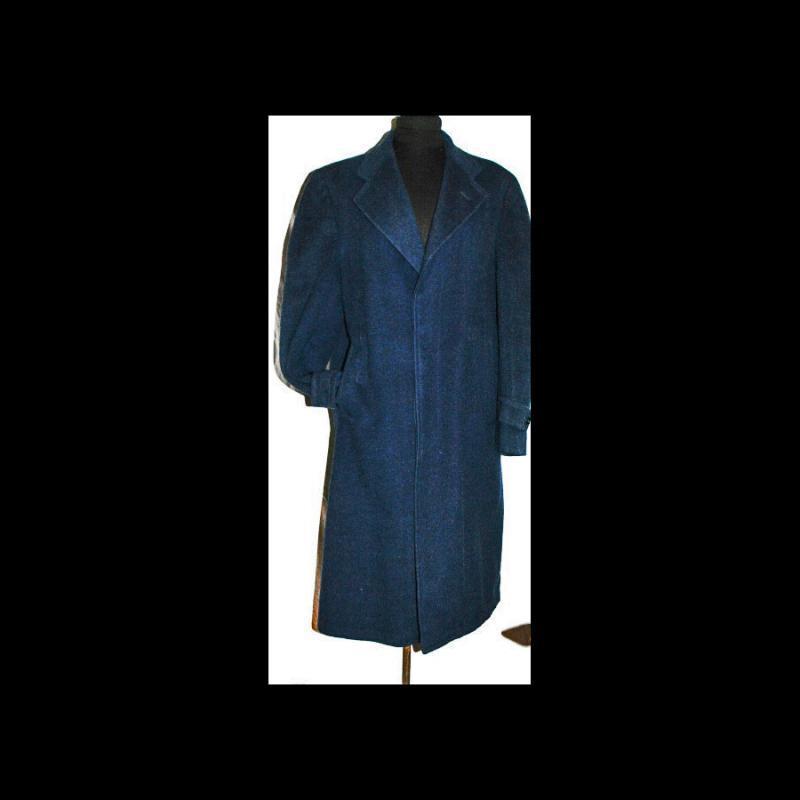 100% Camel Hair Long Overcoat Sapphire Blue for Men