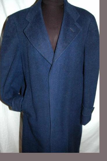 100% Camel Hair Long Overcoat  Blue for Men