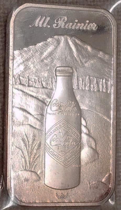 Silver Troy Ounce Bar Fine .999 RARE 75th Anniversary Coca Cola Mt Rainier