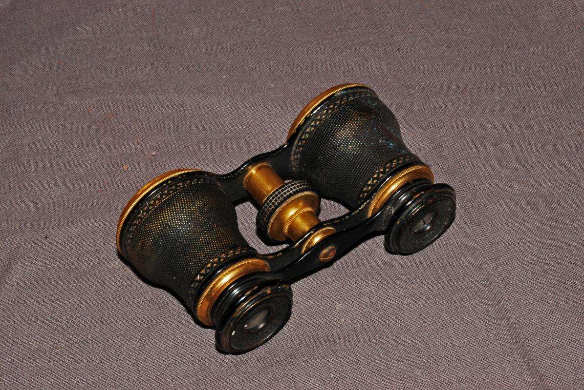 Antique Opera Glasses Chevalier Opticien Paris  Brass Binoculars with Case