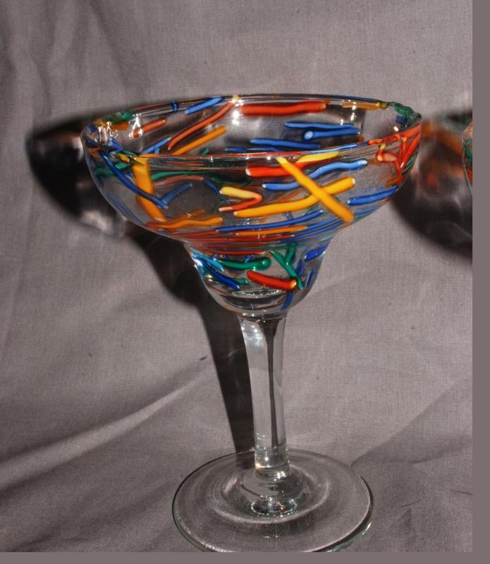 2 Confetti  Margarita Glasses Mexico Hand Blown Glass
