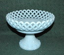 Fenton Robins Egg Blue  Lattice work Compote Pedestal Fruit Bowl