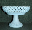 Fenton   Blue  Fenton Blue Compote Reticulated Lattice  Diamond Point Compote Fruit Bowl on Pedestal
