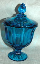 Peacock Blue Footed Candy Dish with Lid