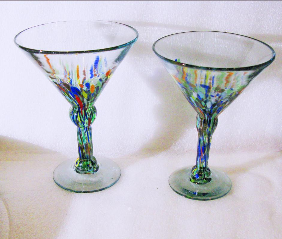2 Blown Glass Mexican Margarita Glasses  Confetti Splatter ware