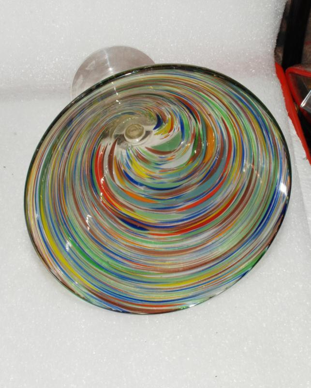 Mexican Blown Glass Stemware, Margarita or Martini, Splatter Swirl Confetti