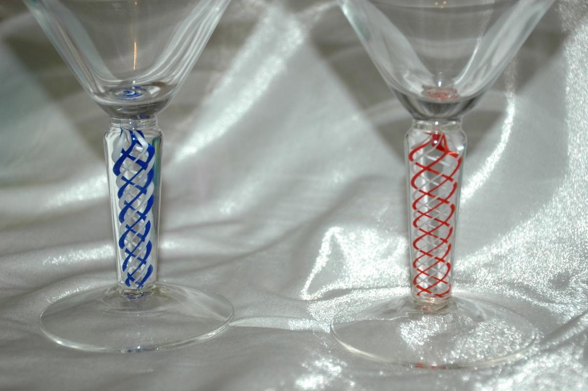 4 Opaque Twist Colored Blown Glass Goblets Stemware.