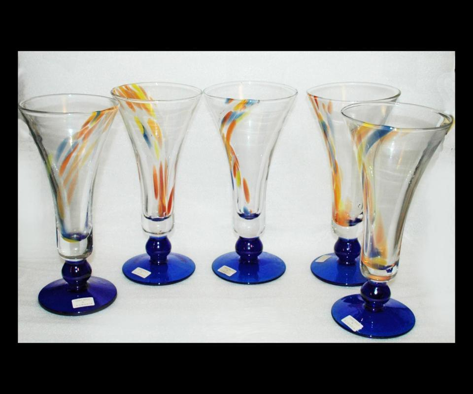 Set of Unique Tall Fluted Pilsner Beer Glasses, Hand Blown Splatter Glass From Romania x 5