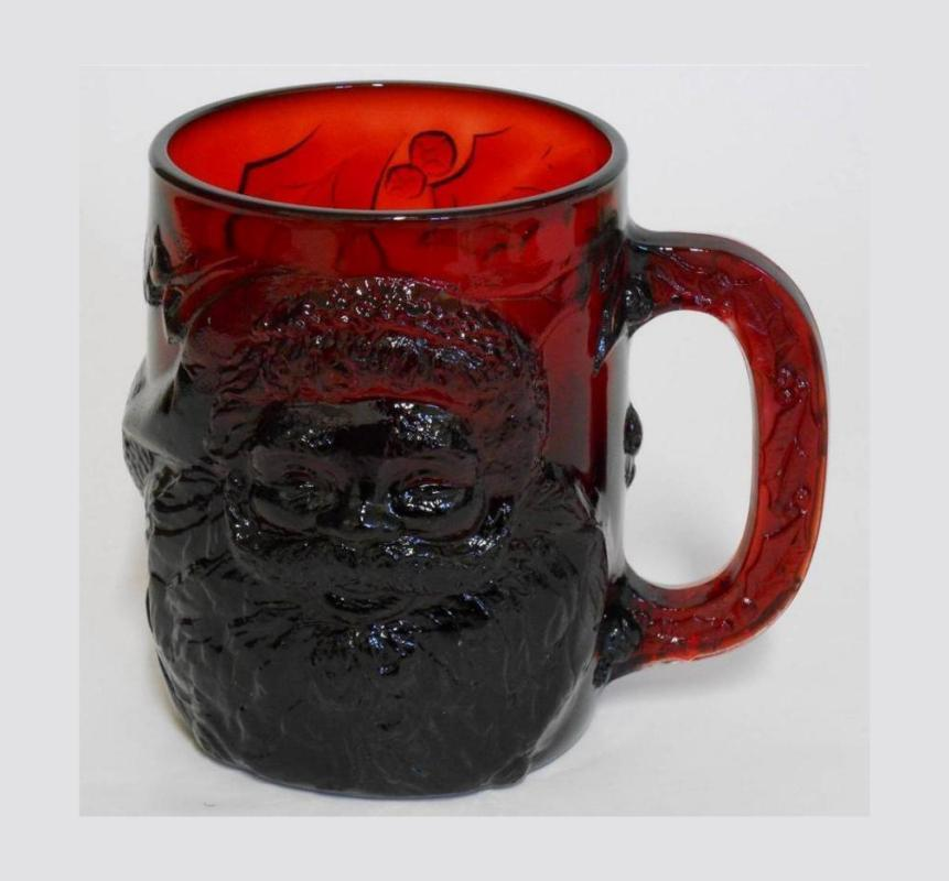 Ruby Red Glass 3D Santa Christmas Mug Cup by Arcoroc France.