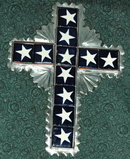 Mexican Folk Art Tin and Tile Cross Crucifix