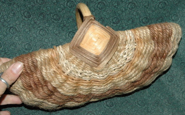 Interesting Old Bamboo & Sisal Hemp Basket  *PRICE REDUCTION