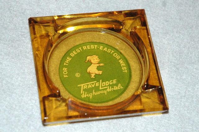 2 Vintage Glass TraveLodge Ashtrays -***PRICE REDUCTION!***