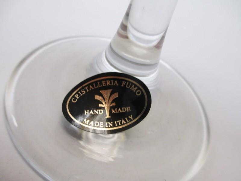 Cristalleria Fratelli Fumo  Stemware Wine Glasses Made in Italy Set of Six in Three Colors NIB