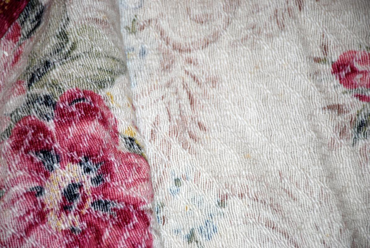 Vintage Bark Cloth Fabric Curtain Panel Remnant 57
