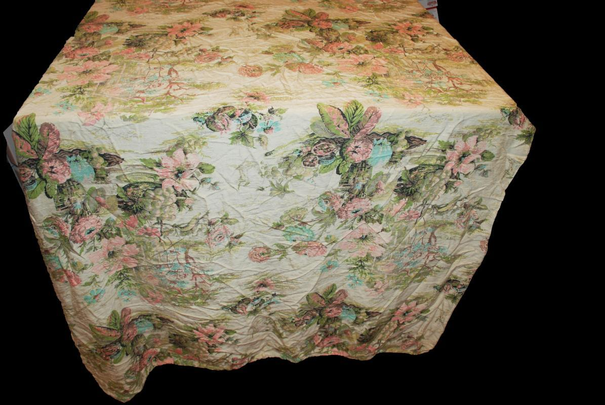 Nubby Raw Silk  Fabric Abstract Asian Garden Motif Drapery Panel Vintage 42 inches x 64 inches.