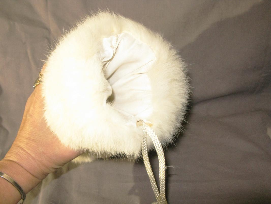 Vintage White Rabbit Fur Muff, Hand warmer