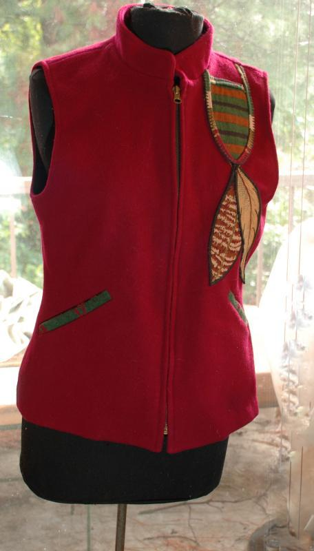 Coloratura Vest Red Wool Southwestern Native American Feather Design USA