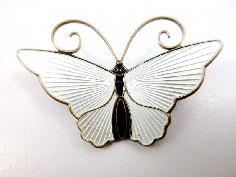 David Andersen White  Guilloche Enamel , Vermeil Sterling  Butterfly  Brooch Vintage