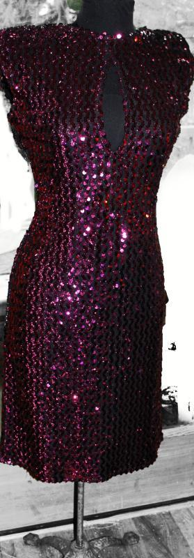 Sequin Cocktail Dress  by Climax by David Howard California  with Keyhole Front