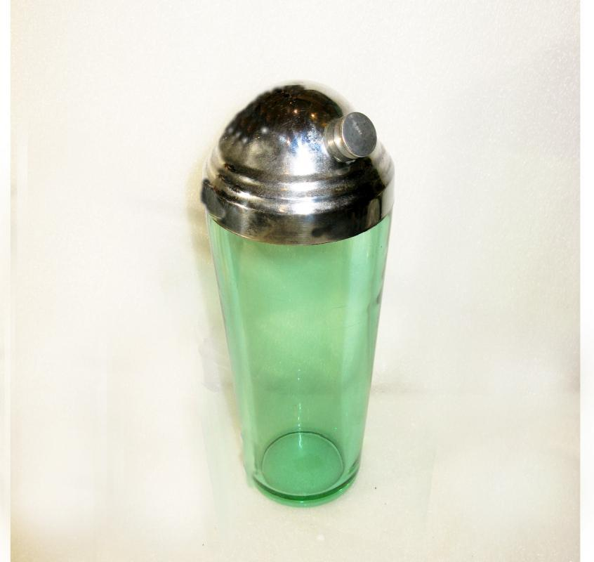 Retro green glass mid century cocktail shaker