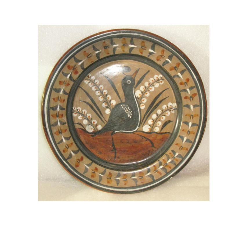 Tonala Burnished  Bruñido Pottery Plate with Quail   9