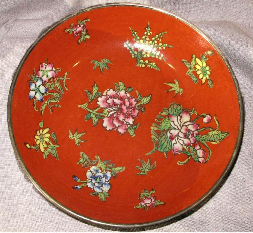 Japanese Porcelain Bowl,  Plate in Silver Frame, Tomato Red with Flowers Decorated in Hong Kong