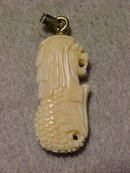 Chinese Lion Head with Fish Tail Pendant of Ivory