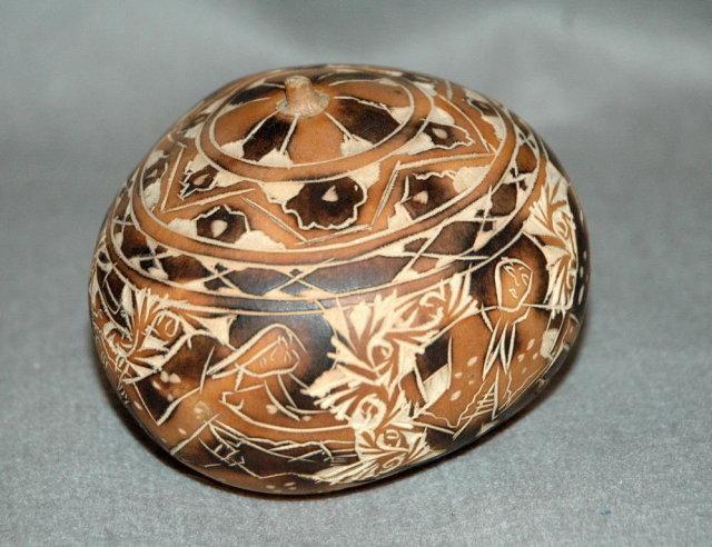 Hand Carved Peruvian Gourd