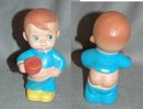 Vintage Squeak Toy  Boy with P.J's falling down in back