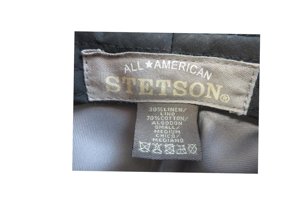 STETSON All American  Fedora Hat  Gray Herringbone   Cotton Linen  Size  Small - Medium
