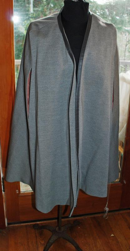 Grey Wool Cape with Leather Trim by The American Way with Wool Brand Vintage