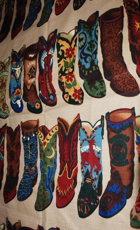 Cowboy Boot Barkcloth Fabric  58