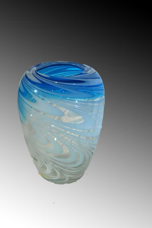 Blown Art Glass Vase Blue White Concentric Swirls on Clear  Studio Glass