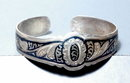 Old Russian Niello Cuff Bracelet