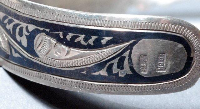 Old Russian Niello Cuff Bracelet