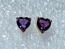 18k  Gold & Violet Iolite Heart Earrings