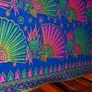 Exotic Malaysian Batik Fabric Blue Pink , Green with Gilt Gold  Fans & Feathers Table Cloth 46 x 76 inches