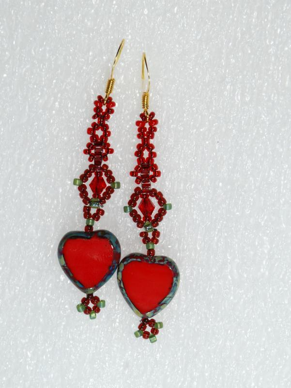 Czech Red Heart Picasso Glass Dangle Earrings Hand Crafted One of Kind Design