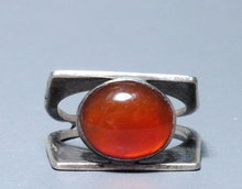 Sterling Silver Carnelian Modernist Ring