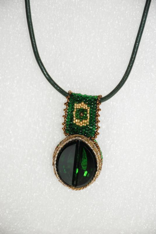 Large Green Gold Glass Pendant with Beaded Bail on Genuine Leather Rope Handcrafted one of Kind